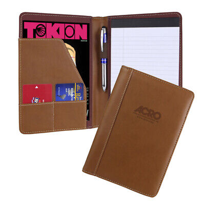Italian English Tan Leather Business Padfolio Portfolio Organizer Folder Resume
