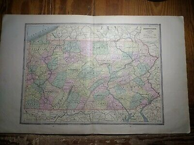 1885 Double Page Map of Pennsylvania - Map of New Jersey - Railroads Shown