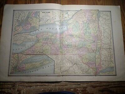 1885 Double Page Map of New York - Inset Maps of NYC & LI - Railroads Shown