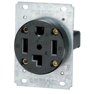 Leviton 30A Flush Mount Power Outlet - Black -14-30R NEW - Free Shipping
