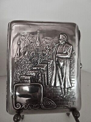 Rare Antique Russian Engraved 84 Silver Napoleon Cigarette Case Moscow Burning