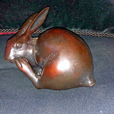 "Meiji Bronze Okimono rabbit hare sculpture Japanese statue marked 5.5"" etched"