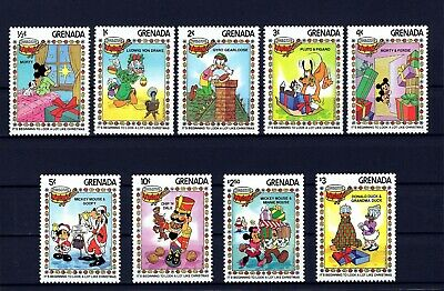Grenada - 1983 - Disney - Mickey - Goofy - Pluto - Christmas - Mint - Set Of 9!