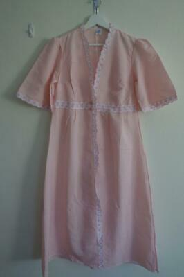 Vintage Pink Women's Short Sleeve Dressing House Gown Robe 8 -10
