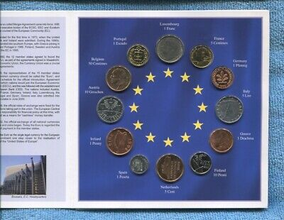 Euro-Zone Countries Collection of the Last National Coins 12 BU Coins