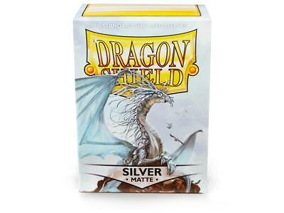 Dragon Shield Mat Silver 100 Protective Sleeves Cases Standard Card Holder
