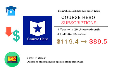 Course Hero Premier Account 1 Year with 20 Unlocks/Month & Unlimited Preview