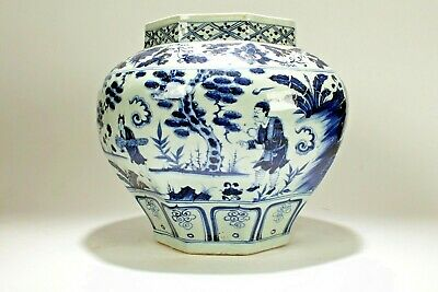 An Estate Chinese Blue and White Story-telling Porcelain Massive Vase