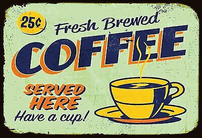Blechschild Retro Fresh Brewed Coffee here Metallschild Wanddeko 20x30 tin sign