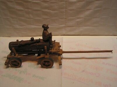 Vintage Tank Wagon With Tongue Driver & Figurines Wood Hand Carved