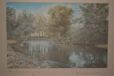 WALLACE NUTTING 'The Swimming Pool' (1861-1941) Signed 10x7 handcolored litho