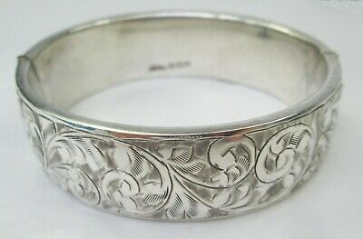 Antique Edwardian Sterling Silver Engraved Chased Floral Hinged Bangle 1920
