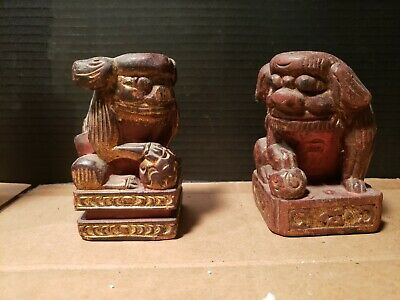 Pair Small Antique Foo Lion Dog Asian Wood Carving From a Temple