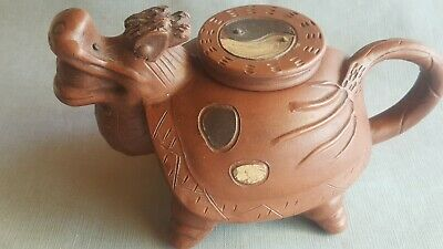 Antique Chinese Yixing Zisha Clay Teapot Dragon Yin Yang Hand Made Carved Signed
