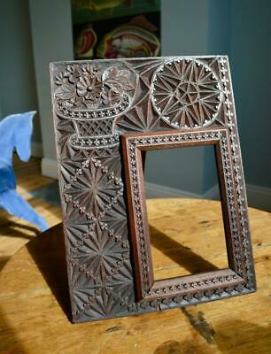 "Superb Antique Carved Oak Picture Frame 6.75""X4.25"" Rebate Arts & Crafts Nouveau"