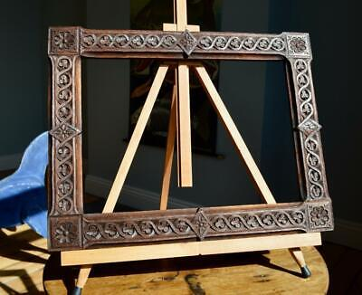 "SUPERB ANTIQUE CARVED OAK CELTIC PICTURE FRAME 14"" X 10"" REBATE v ARTS & CRAFTS"