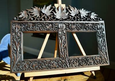 "SUPERB ANTIQUE VICTORIAN CARVED OAK PICTURE FRAME 8"" X 6"" REBATE v ARTS & CRAFTS"