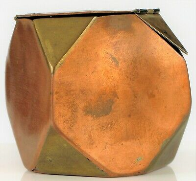 Antique Arts & Crafts Movement Mid Century Modern Tea Caddy Sterling Copper !