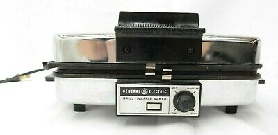 Vintage General Electric GE Grill Waffle Baker Chrome  TF