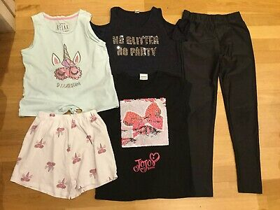 Girls Clothes Bundle Age 10-11 Black Lycra Leggings Jojo Siwa Sequin Top Pjs
