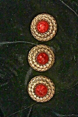 Antique 3 Red  Rhinestone Brass Metal Shank BUTTONS c Gold Circular Ropes
