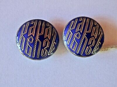 Lovely Pair of Russian Imperial Silver Enamel Dress Studs Kostroma c1880