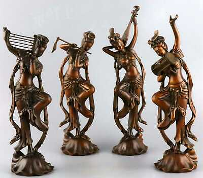 Collectable Qainlong Years Antique Boxwood  Hand-Carved 4 Belles Delicate Statue