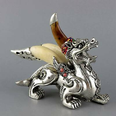 Collectable Old Miao Silver Inlay Wolf Tooth Carve Roar Kylin Exorcism Statue
