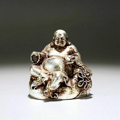 Collectable China Old Miao Silver Hand-Carve Auspicious Maitreya Buddhism Statue
