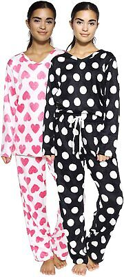 Real Essentials 2 Women's Fleece Pajama Sets - Long Sleeve V Neck Top and Pajama