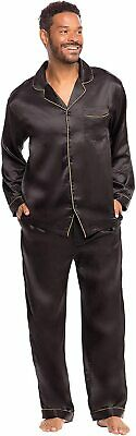 Alexander Del Rossa Men's Button Down Satin Pajama Set with Sleep Mask, Long Sil