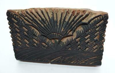 19th CENTURY BAG STAMP, HAND CARVED HARDWOOD, SUNRISE OVER FIELDS, ZOAR OH ?