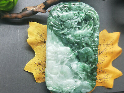Chinese Delicate natural Hand-carved Jadeite jade pendant Green nine dragon 2