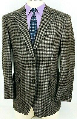 41R Jos A Bank Mens Pure Wool 2 Bttn Sport Coat Chestnut Taupe Houndstooth Mint!