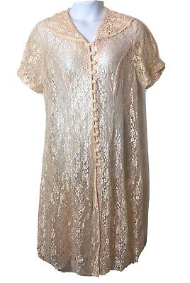 Vtg 80'S JAMIE BROOKE WOMAN PEACH CREAM LACE Dress  Sheer SIZE 16
