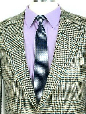 38S* Polo University Club Mens Wool Silk 2 Button Sport Coat Teal Beige Exc!