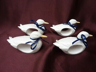 Duck Napkin Rings Set Of 4 Ceramic White Rustic Look Country Cottage Decor