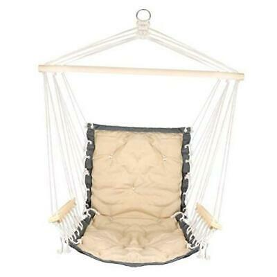 Hanging Rope Hammock Chair with Wooden Handrail, Large Hammock Porch Y-white
