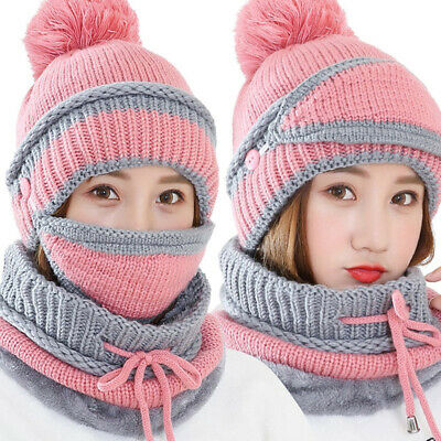 3Pcs Winter Women Warm Knitted Pompom Beanie Hat Cap Scarf Face Mask Set Latest