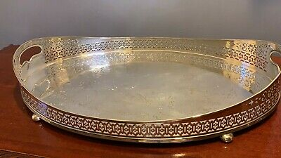 Beautiful Vintage Oval Silver Plated Metal Decorative Serving Tray **