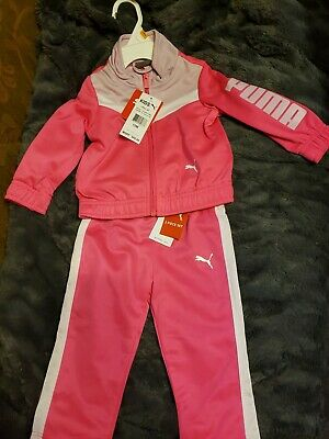 Puma Toddlers Girl 2 piece Set Track Suit 18 Months Pink/White/Lavender New