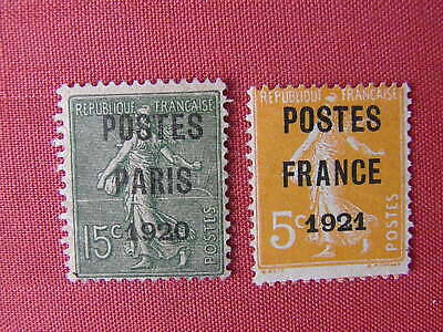 FRANCE 1920/1 Préo 25 & 33 Sans gomme Cote 205€ Voir Photos
