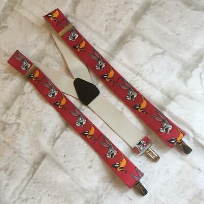 Vintage Suspender Y Clip On Red Trouser Braces Novelty Looney Tunes Bugs Bunny