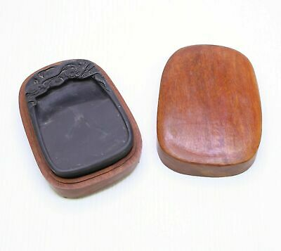 Antique Old Chinese Scholar Ink Stone With Wood Box Dragon Design Calligraphy