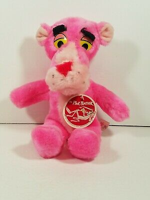 """Vintage 1980 11"""" Pink Panther Plush Doll United Artist Mighty Star with Tags"""