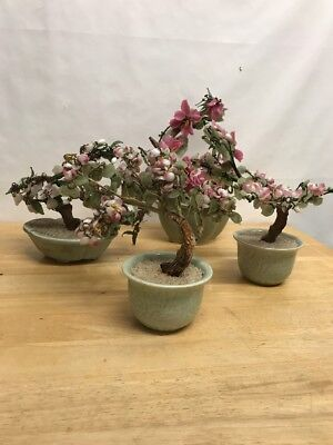 Vintage Artificial Bonsai Trees Blossom / Green Leaves - Celadon Green Pot