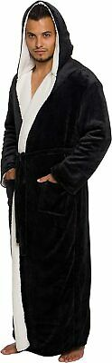 Ross Michaels Mens Sherpa-Lined Hooded Long Bathrobe - Full Length Luxury Plush