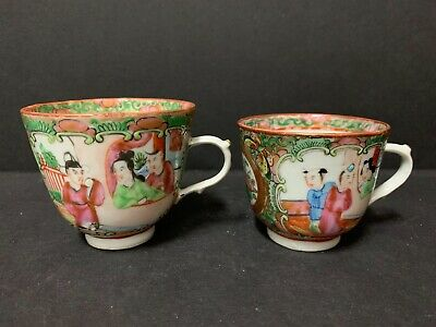 2 Antique Chinese Export Famille Rose Mandarin Ceremonial Court Demitasse Cups