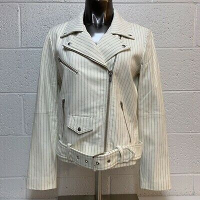 VEDA Womens Lamb Leather Motorcycle Jacket White Pinstripe Zip Up Belted L New