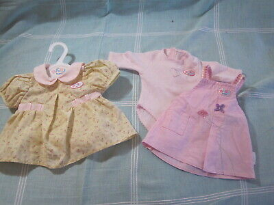 Zapf Creations Baby Born clothes 3 original outfits - 2 dresses, 1 jumpsuit